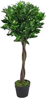 Leaf Artificial Topiary Bay Laurel Tree Ball Style Plain Stem in Black Plastic Pot, 90cm (3ft) Twist