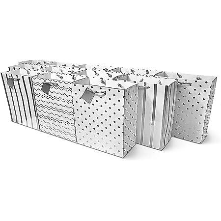 Horizontal /& Polka Dot Diagonal Chevron Metallic ROSE GOLD Patterned Medium Food Safe Flat Paper Craft Bags Casablanca