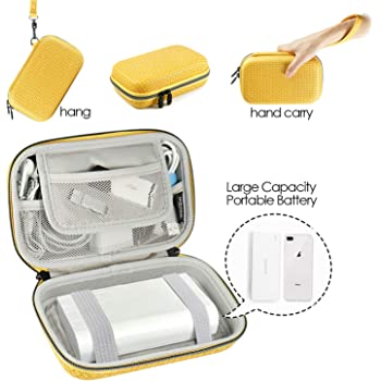 Electronics Organizer Travel Cable Case - 7.9 Inch Hard Travel Charger Case, Large Tech Gadget Carrying Bag Pouch for Power Bank, Portable Battery Charger - Yellow