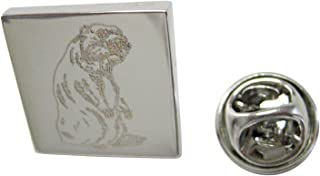 Silver Toned Etched Standing Beaver Lapel Pin