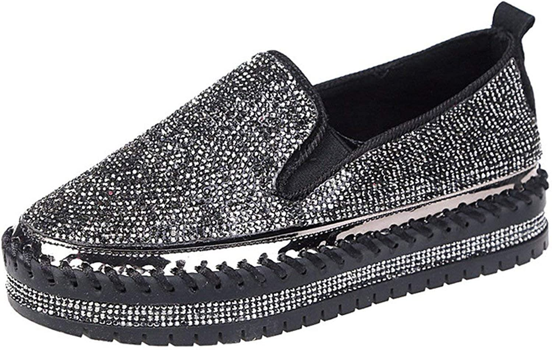 MiniYoo Women Loafers Casual shoes Platform Flats Fashion Rhinestone Slip On Round Toe Female Fisherman shoes