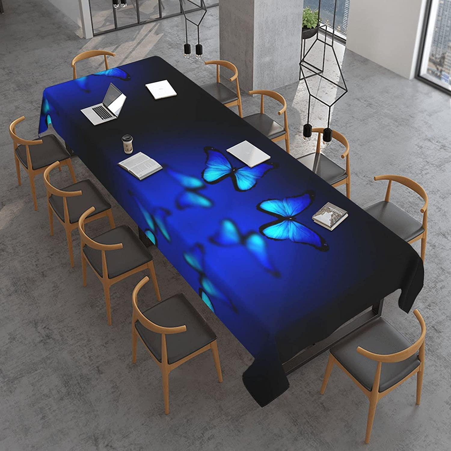 Blue Butterfly Print Rectangle Table Cloth 120 Inch X Over item handling 60 Water- Max 85% OFF