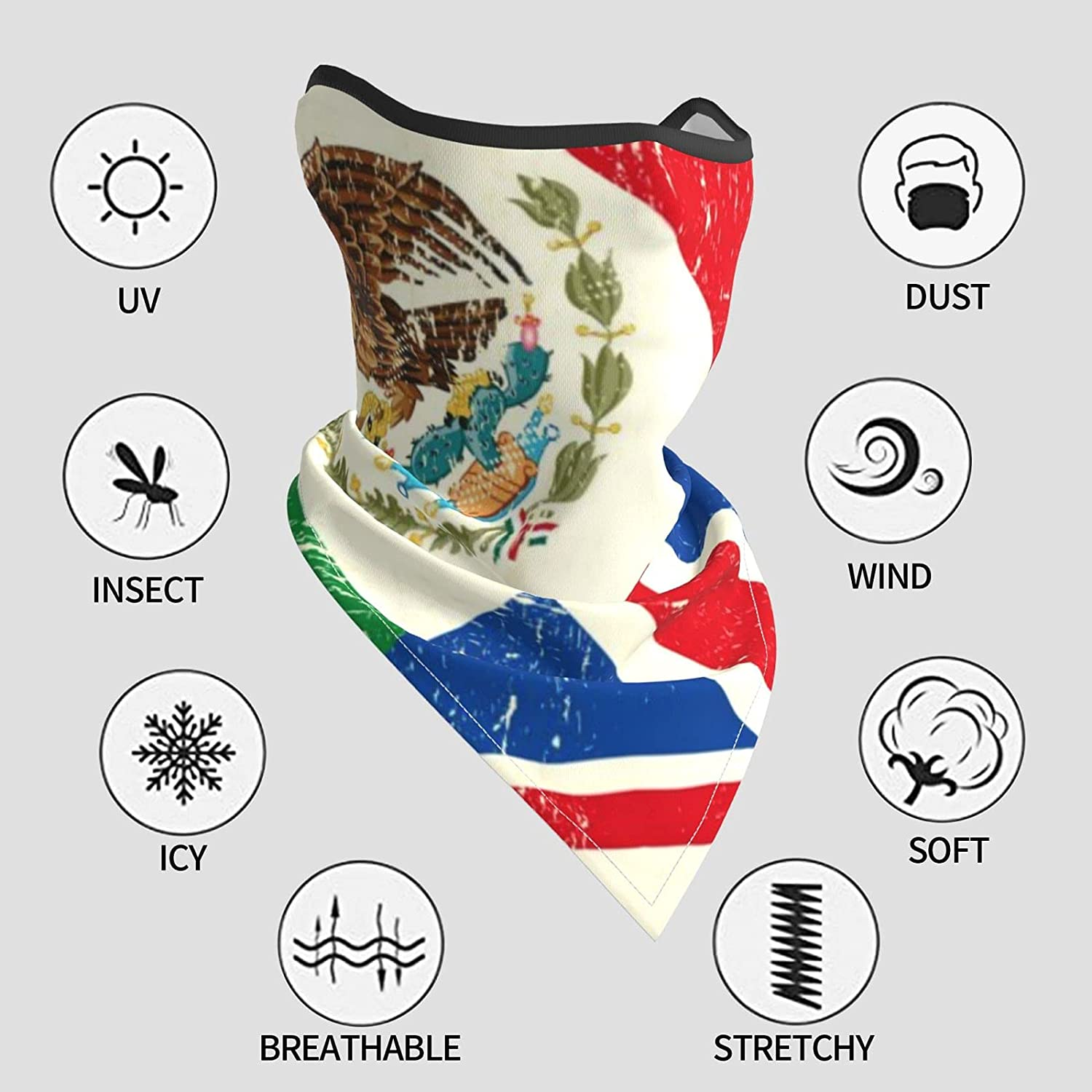 UK and Mexican Flag Breathable Bandana Face Mask Neck Gaiter Windproof Sports Mask Scarf Headwear for Men Women Outdoor Hiking Cycling Running Motorcycling
