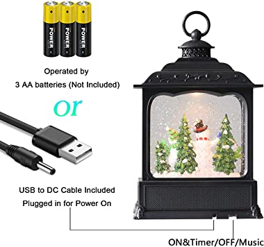 DRomance Musical Christmas Lighted Snow Globe Lantern with Timer, Battery Operated & USB Cord Powered Water Glitters Swir
