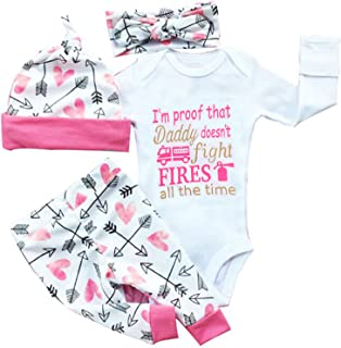 gllive Baby Girls' Clothes Long Sleeve Miracles Romper Outfit Pants Set +Hat+Headband 12-18 Months X-Pink Proof Daddy