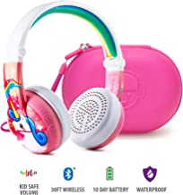 BuddyPhones Wave - Waterproof Wireless Bluetooth Volume-Limiting Kids Headphones - 20-Hour Battery Life - 4 Volume Settings of 75, 85, 94db and StudyMode - Includes Backup Cable - Pink with Hardcase