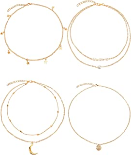 4 Pieces Layered Pendant Choker Necklace Gold Layering Chain Choker for Women Girls