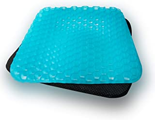 LHOTSE Gel Sitter Seat Cushion with Non-Slip Cover, Multi-Use Breathable Orthopedic Seat Cushion Pad for Car, Office Chair, Wheelchair or Home (16.4 x 13.8 Inches)