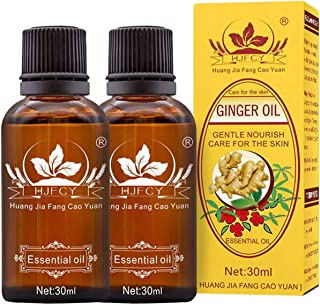 2PC Ginger Body Massge Oil, 100% Pure Natural Plant Extract Essential Oil for Lymphatic Drainage, Swelling Promote Blood C...