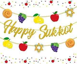 Happy Sukkot Banner Jewish New Year Decorations Apple Challah Star for Jewish Holiday Bunting Garland Indoor or Outdoor