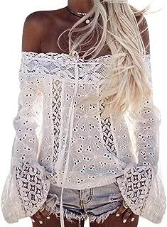 Color S/ólido de Encaje Hombros Descubiertos Mangas Largas Elegante de Moda Casual Transpirable Tops Camisetas SUNNSEAN Blusa para Mujer