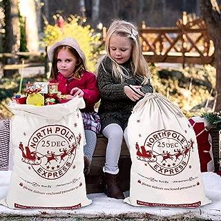 Aytai 2pcs Santa Sacks Gift Large Bag with Drawstring Christmas Bag Personalized Santa Bags for Kids 19 x 27 Inch Christmas gift bags