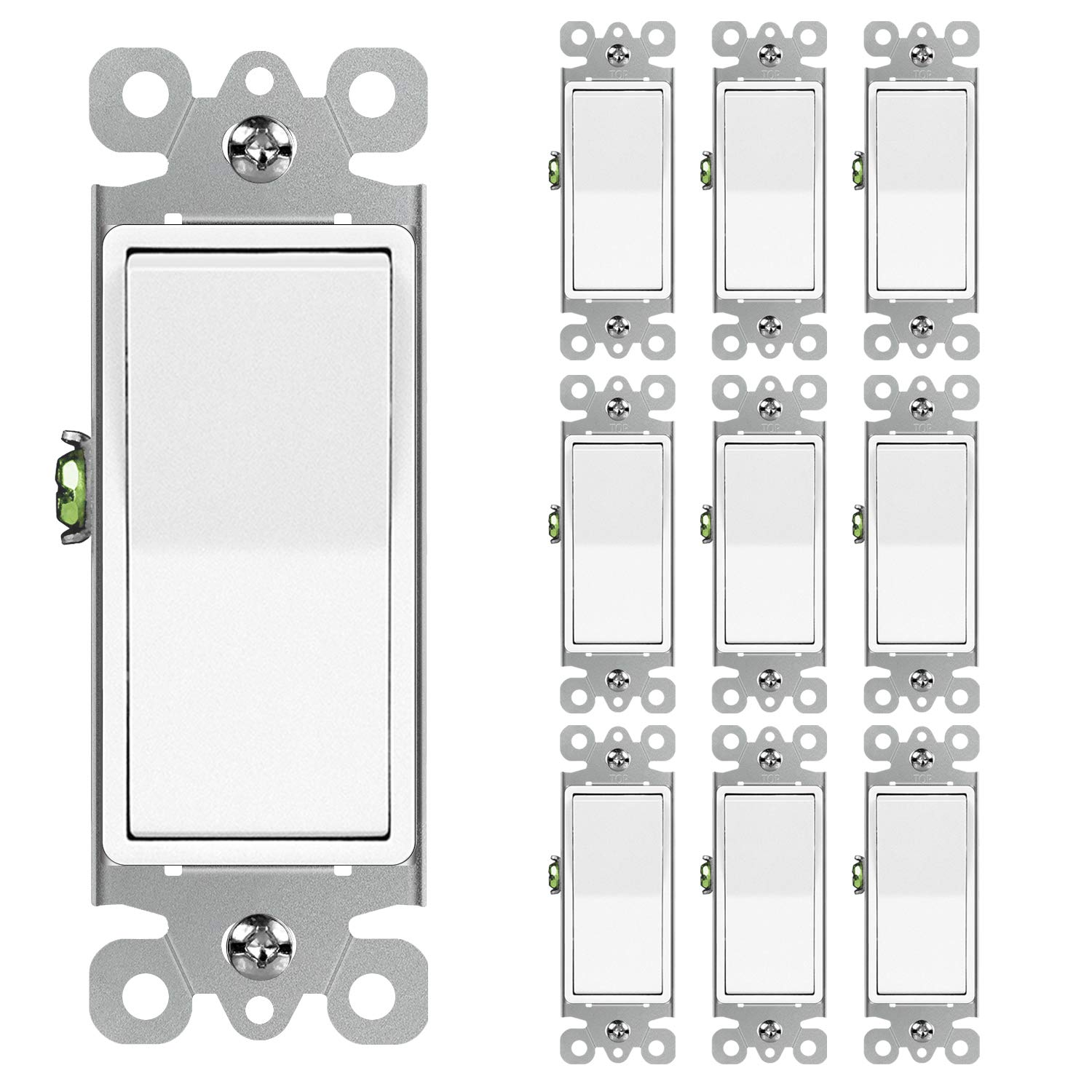 10 Pack All stores are sold Max 69% OFF BESTTEN Single-Pole Decorator Switch Wall Light 1 15A