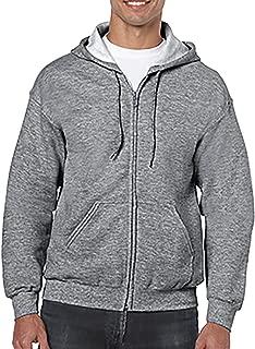 Men's Satin Label Zipper Pouch Pocket Hoodie, Graphite Heather, XL