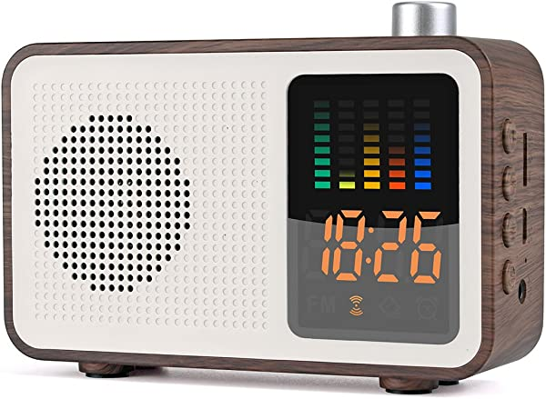 YSEECHENS Portable Bluetooth Speaker Retro FM Radio With Alarm Clock Stereo Wireless Speakers Support TF Card AUX In Colorful Spectrum Display Walnut Wood