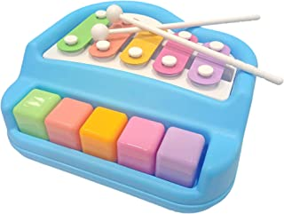 Popsugar Xylophone + Piano Musical Toy with 2 Mallets, Blue