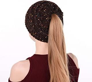 SZSMART Ponytail Beanie Hat Soft Stretch Cable Knit Messy High Bun Caps Winter Fashion Woolen Warm Cap Women
