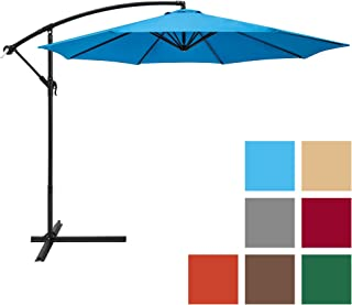 Best Choice Products 10-Foot Offset Hanging Aluminum Polyester Market Patio Umbrella w/ 8 Ribs and Easy Tilt Adjustment, Blue
