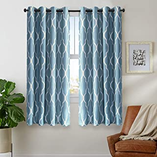 Blue Moroccan Tile Curtains 54 inches Long for Living Room Curtains Bedroom Kitchen Linen Textured Thermal Insulated Window Drapes Grommet Top on Flax 2 Panels