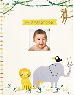 """C.R. Gibson B248-22583 Baby Book with Gift Box,""""Wild About You"""" Zoo Animal, 8.75'' W x 11.25'' H"""