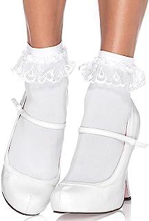 Leg Avenue Women's Lace Ruffle Nylon Anklet Socks