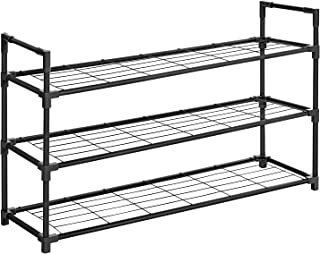 SONGMICS 3-Tier Shoe Rack, Metal Shoe Shelf, Storage Organizer Hold up to 15 Pairs Shoes, for Living Room, Entryway, Hallway and Cloakroom, 36 x 11.2 x 22 Inches, Black ULSM03BK