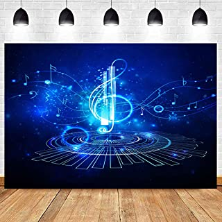 Music Night Backdrop Blue Photography Backgrounds Starlight Picture for Photo Booth Backdrops Kids Children Theme Party Backdrop YouTube Video Background Props 10X7FT KST017