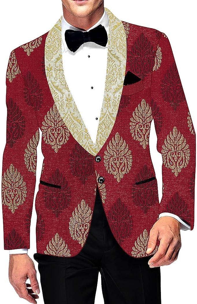 INMONARCH Mens Slim fit Casual Crimson Red Polyester Blazer Sport Jacket Coat Floral Design SB17076