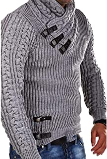 Mens Winter Sweaters Turtleneck Cable Knit Button Down Chunky Casual Fall Jackets Coats
