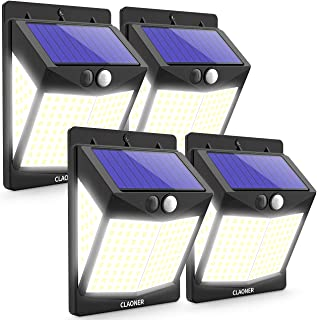 Claoner Solar Outdoor Lights, 140 LED/4 Pack 3 Modes Outdoor Solar Lights Motion Sensor, 270°Wide Angle Solar Motion Light...