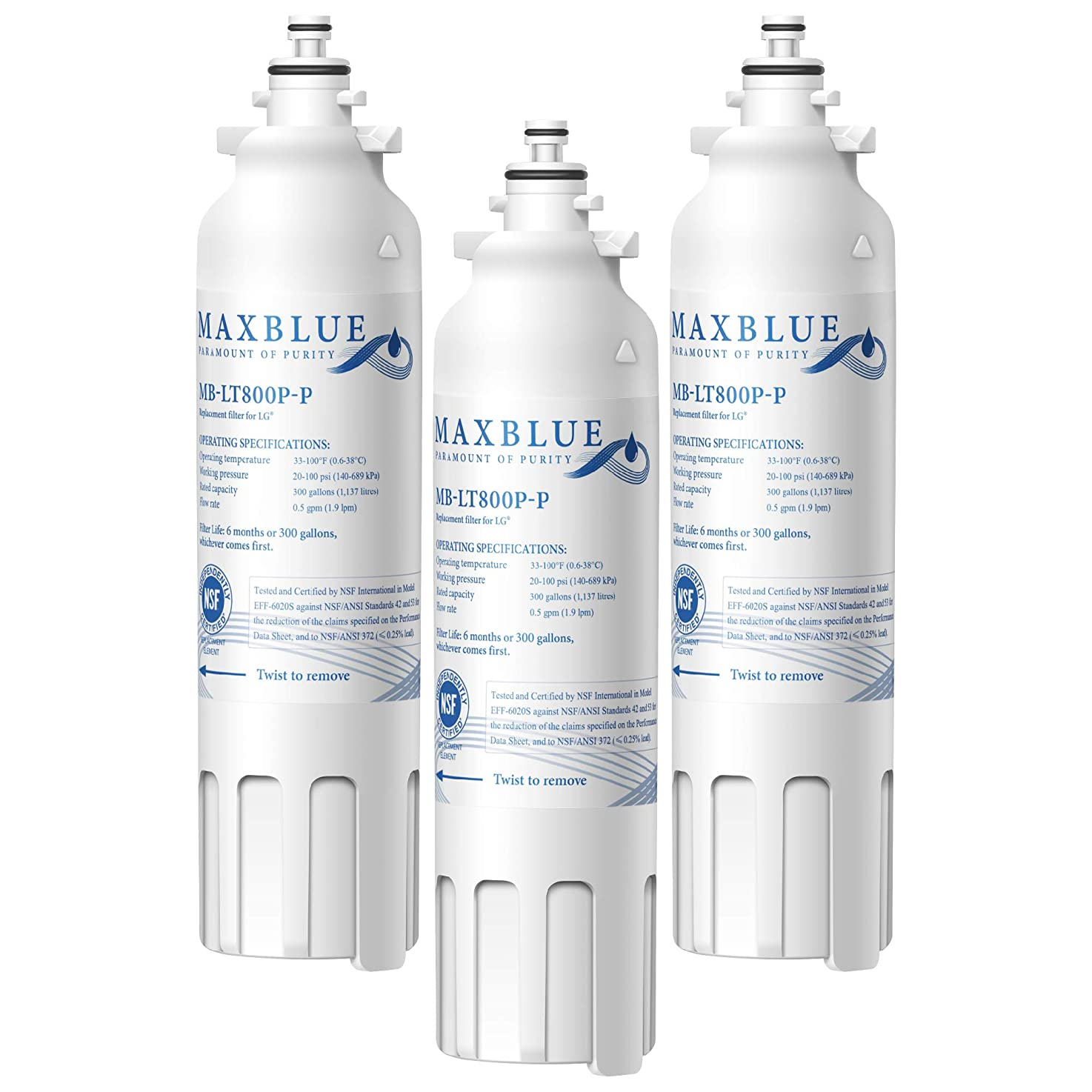Max blue NSF 53&42 Certified ADQ73613401 Refrigerator Water Filter, Replacement for LG LT800P, Kenmore 9490, LSXS26326S, LMXC23746S, WF-LT800P, 469490, LMXC23746D, ADQ73613402, Pack of 3