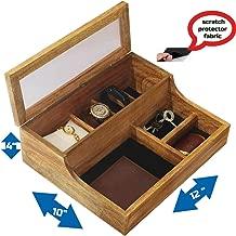 abhandicrafts - Rustic Brown Burnt Watch Box Case Wood Watch Organizer 6 Versatile Slots for Watch, Keyring, Bracelet, Wallet, Remote & Jewelry Organizer Box