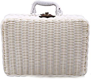 Little-Hope Travel Picnic Basket Handmade Wicker Storage Case Vintage Suitcase Props Box Weave Bamboo Boxes Outdoor Rattan Organizer,White,22 X 16 X 10 cm