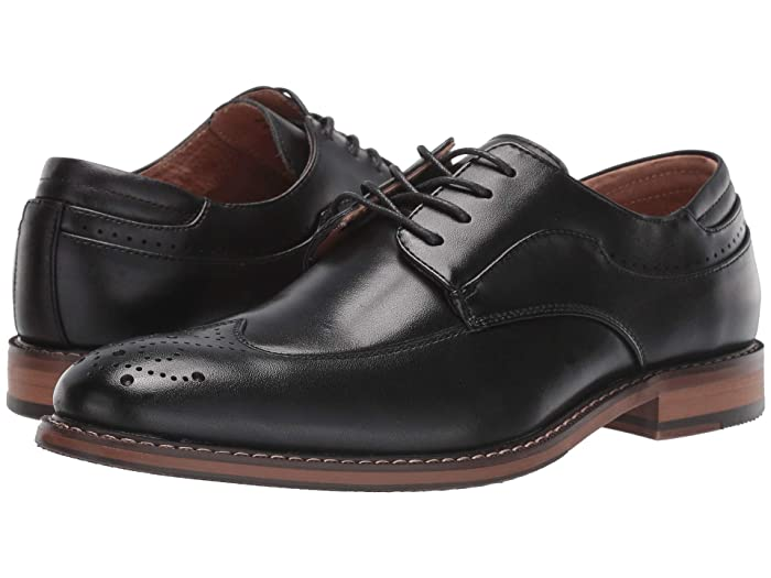 1920s Boardwalk Empire Shoes Stacy Adams Fletcher Wing Tip Oxford Black Mens Shoes $87.38 AT vintagedancer.com
