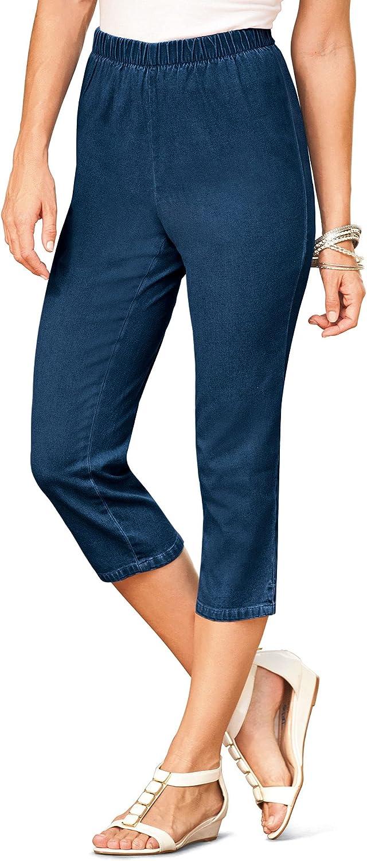 Roamans Women's Plus Size Petite Pull-On Stretch Capri Jean