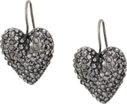Caviar Heart Dangle Earrings