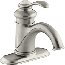 KOHLER Fairfax K-12181-BN Single Handle 4 in. Centerset Bathroom Faucet with Metal Drain Assembly in Brushed Nickel