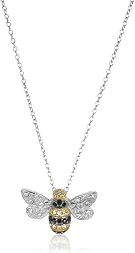 """Amazon.com: Sterling Silver Bumblebee Pendant Necklace Made with Swarovski Crystal (18"""") : Everything Else"""