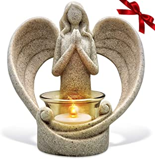 OakiWay Memorial Gifts – Tealight Candle Holder Sympathy Gift, with Flickering Led Candle, Angel Figurines in Memory of Loved Ones, Bereavement Gifts - Remembrance Gifts - Condolence Gifts
