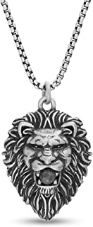 Oxidized Stainless Steel Lion Head Necklace for Men 26...