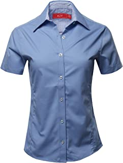 A2Y Women's Durable Short Sleeve Button Down Business Office Formal Ladies Shirt
