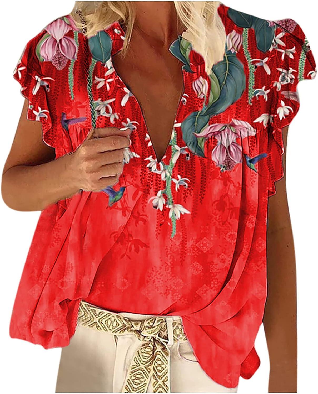 USThirty Women Blouses Shirt Ethnic Style Retro Floral Print Ruffled T-Shirt Breathable