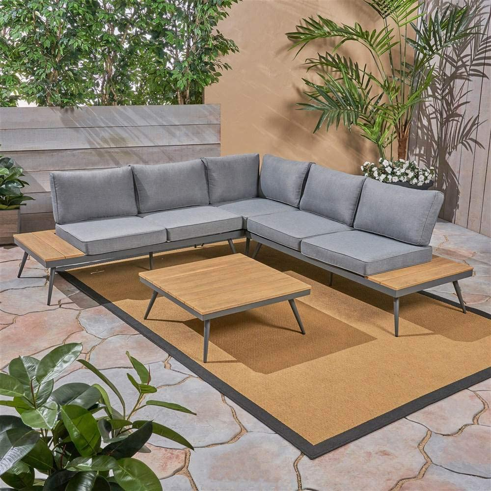 Noble House Norfolk 4 Piece Outdoor i Max 76% OFF Aluminum and Wood Super sale Sofa Set