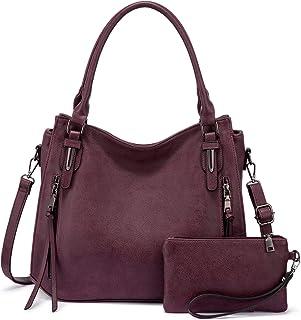 Realer Damen Handtaschen Groß Shopper Lederhandtasche Schultertasche Umhängetasche Geldbörse Hobo Damen Taschen Set 2pcs Rot
