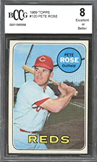 1969 topps #120 PETE ROSE cincinnati reds BGS BCCG 8 Graded Card