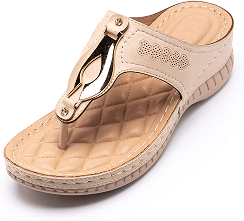 VOMIRA Women's Wedge Sandals Slip-on Slippers Rhinestone Tassel Bohemia Flip Flops Summer Fashion Flats