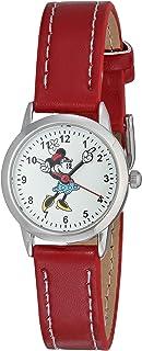 Disney Relógio feminino MN1023 Minnie Mouse com mostrador branco e pulseira vermelha