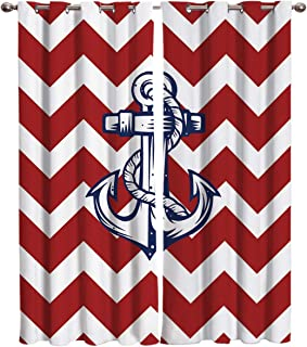 T&H Home Nautical Anchor Curtains, Chevron Zigzag Pattern Window Curtain, 2 Panel Curtains for Sliding Glass Door Bedroom Living Room, 104