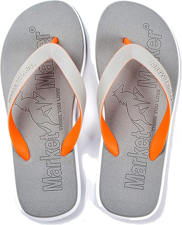 whdz Flip-Flops Men's Slippers Rubber Beach Non-Slip Outdoor Leisure Sandals (Color : Gray, Size : 40-41)