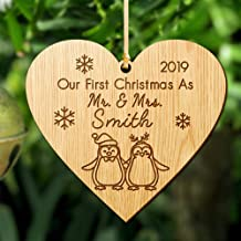 Howson London First Christmas as Mr and Mrs Decoration Bauble - Personalised Xmas Tree Ornament - Married Wood Tree Bauble For 1st Wedding Gifts Keepsake For Him Or Her